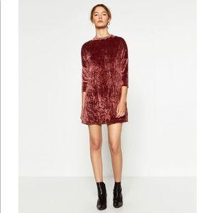 🖤SALE🖤 Zara - crushed velvet rose gold minidress